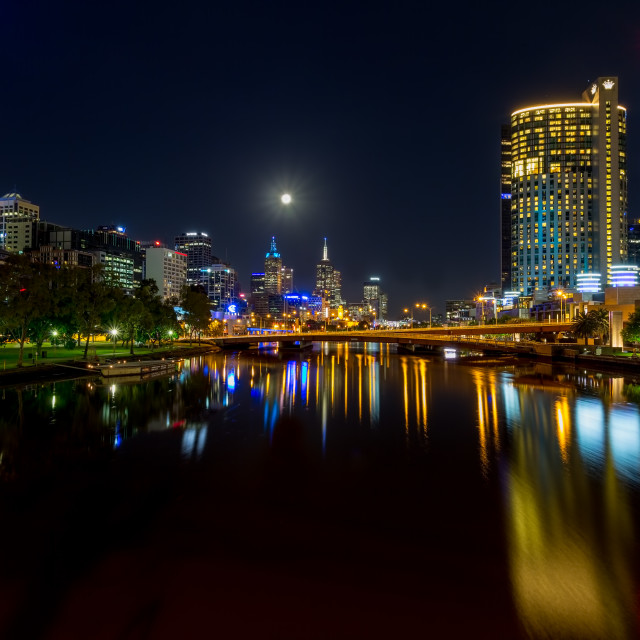 """Melbournes Southbank by Night"" stock image"