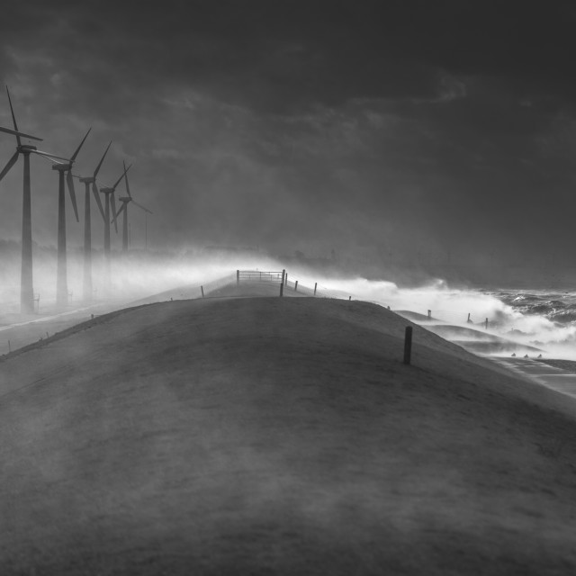"""Dutch Dyke During a Storm"" stock image"