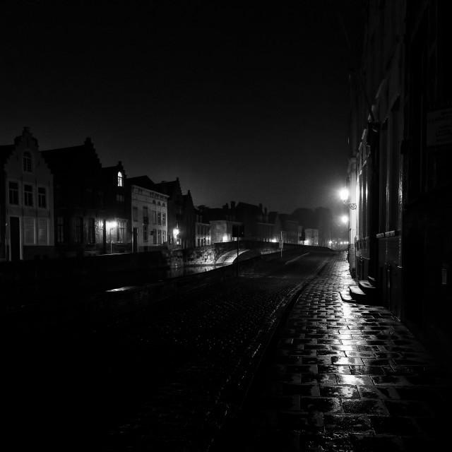 """Misty Street Bruges Belgium"" stock image"