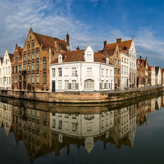 """Canal Panorama Bruges Belgium"" stock image"