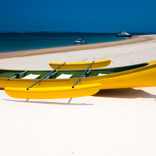 """Yellow Canoe on Whitehaven"" stock image"
