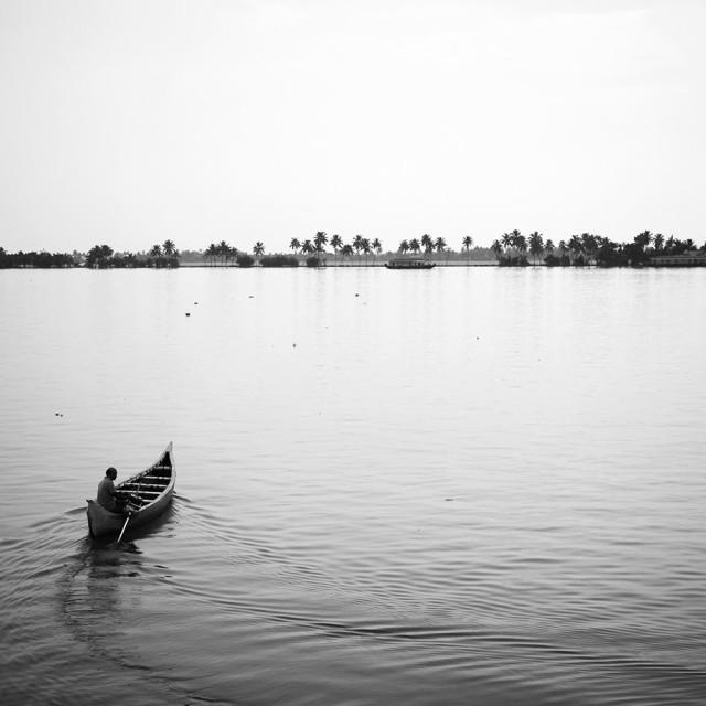 """""""Solo boatman"""" stock image"""