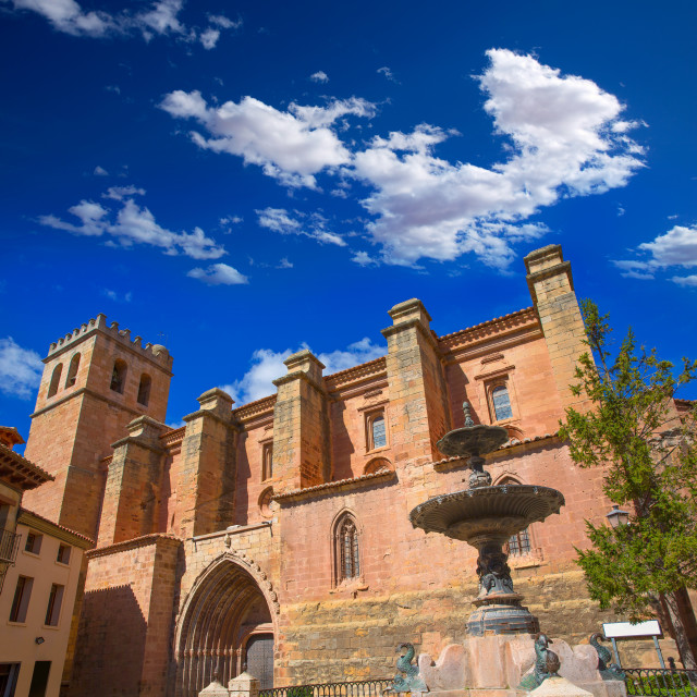 """Mora de Rubielos Teruel church with fountain Spain"" stock image"