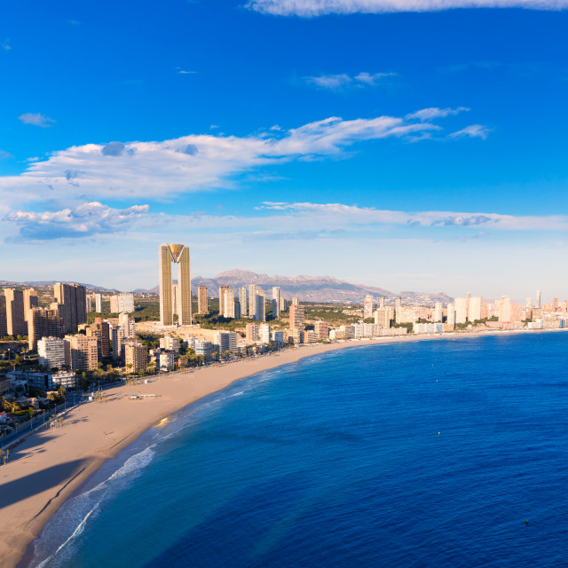 """Benidorm alicante skyline aerial view of Poniente beach"" stock image"