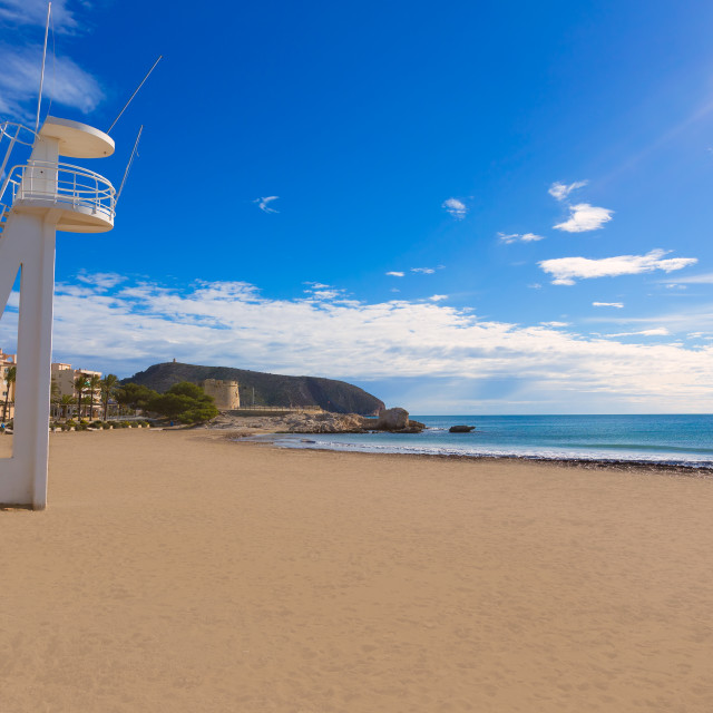 """Moraira Playa la Ampolla beach in Teulada Alicante Spain"" stock image"
