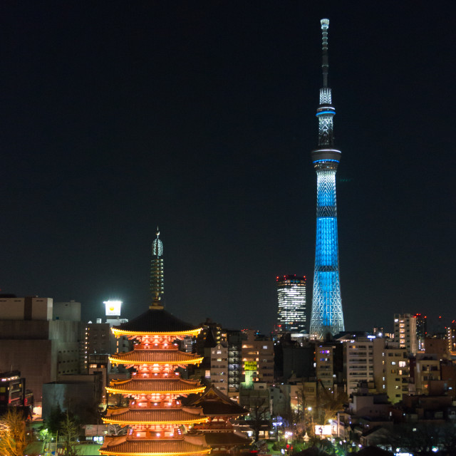 """Skytree & Senso-ji Pagoda at night."" stock image"