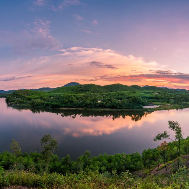 """Sunset on perfume river"" stock image"