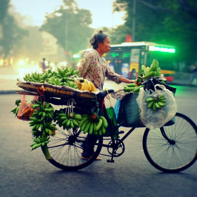 """""""Banana street seller"""" stock image"""