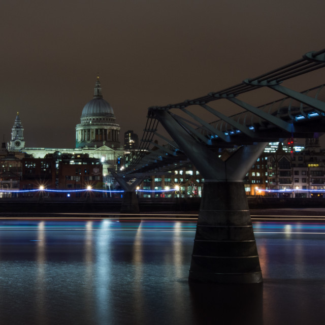"""St Pauls Millennium night shot"" stock image"