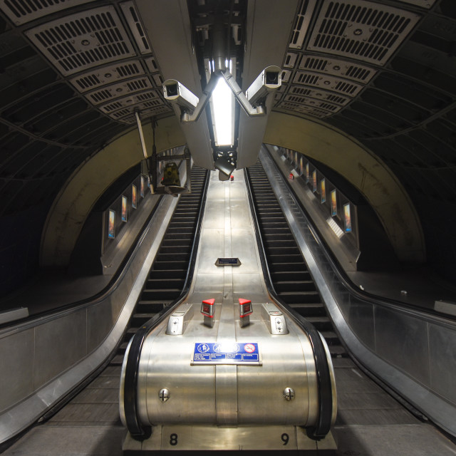 """Underground Escalators"" stock image"