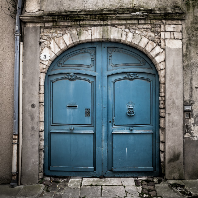 """A Faded Blue Door"" stock image"