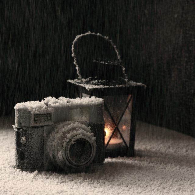 """""""Old camera in the snowing"""" stock image"""