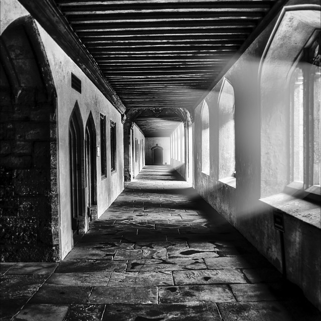 """Eerie corridor with sun light"" stock image"