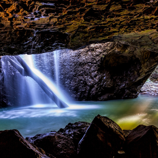 """Natural Bridge Waterfall Springbrook"" stock image"