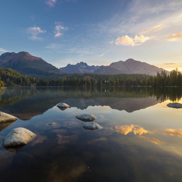 """Tatra lake Strbske Pleso, Slovakia"" stock image"