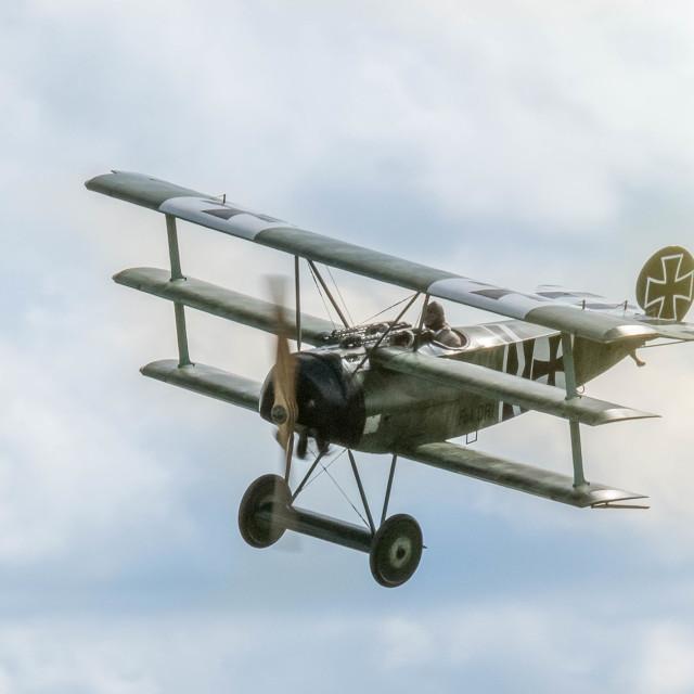 """""""Fokker Dr I in midair"""" stock image"""