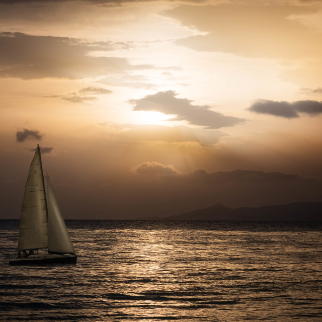 """Sailing in the evening"" stock image"