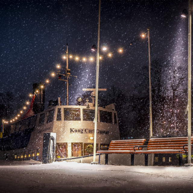 """Boat at harbor for the winter"" stock image"