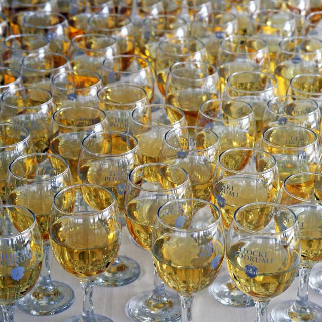 """Glasses with fine wine, Zagreb, Croatia, Europe 2015."" stock image"