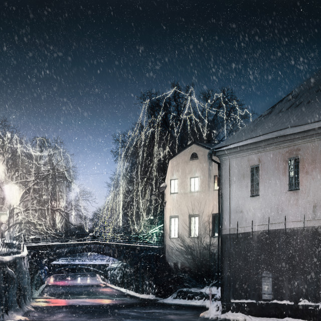 """Winter in the old city"" stock image"