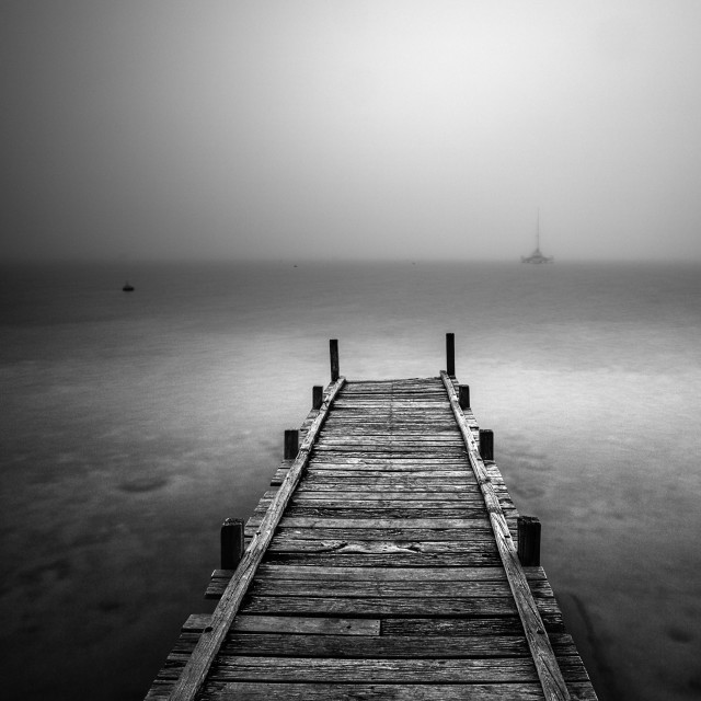 """The Jetty in the Fog..."" stock image"