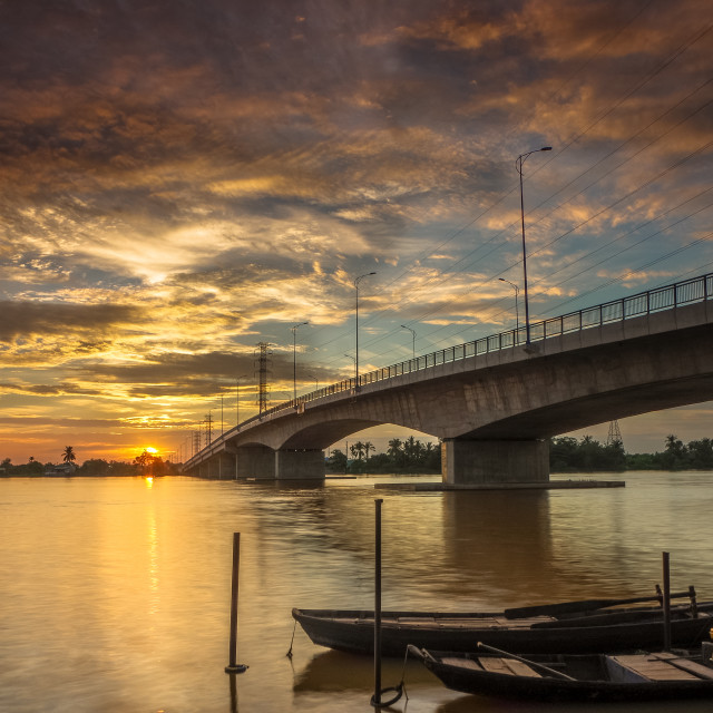 """The dawn at Buu Hoa Bridge"" stock image"
