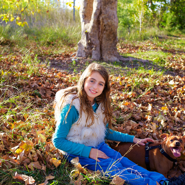 """Autumn kid girl with pet dog relaxed in fall forest"" stock image"