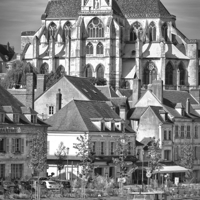 """Auxerre Cathedral soars above the Yonne"" stock image"