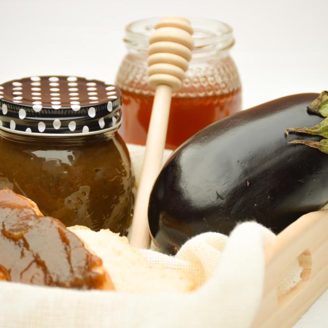 """Artisanal marmalade with eggplant and honey"" stock image"