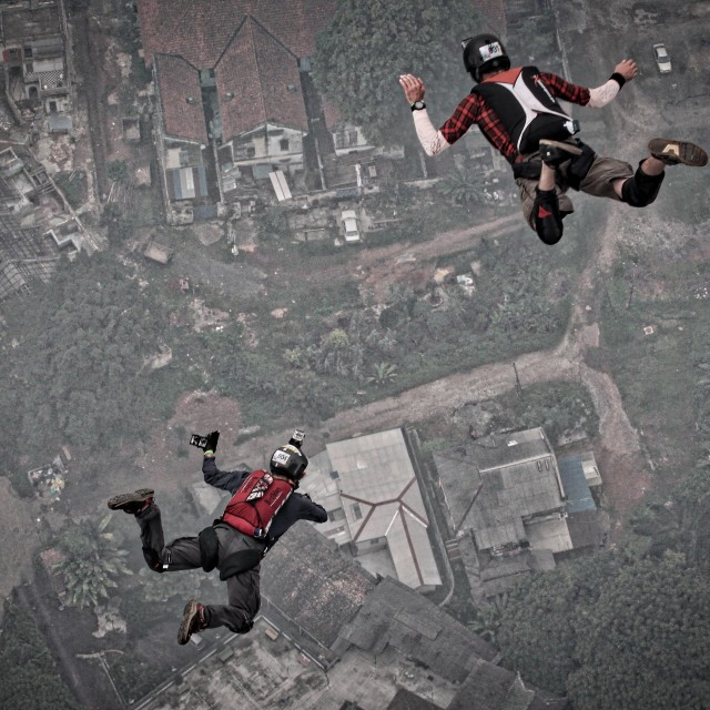 """Two BASE jumpers at KL Tower International BASE jump 2015"" stock image"