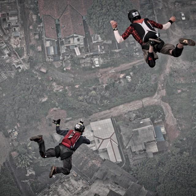"""Two BASE jumpers at KL Tower International BASE jump 2015"" stock image"