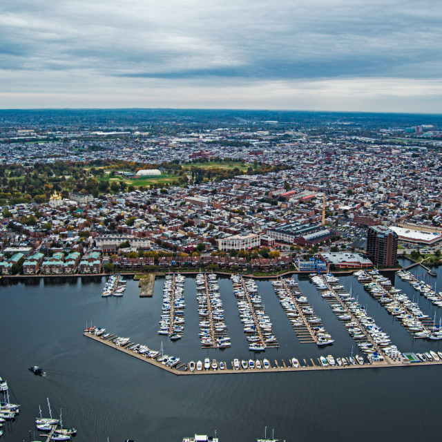 """""""Aerial of a marina in Baltimore, MD"""" stock image"""