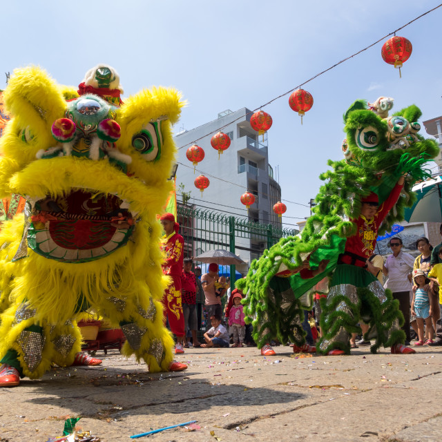"""Lion dancing to celebrate Lunar New Year"" stock image"