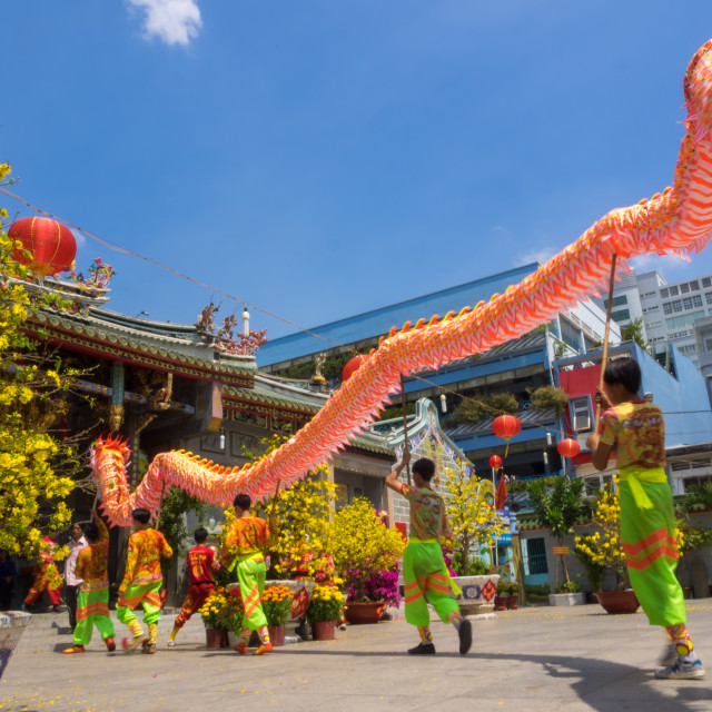 """Dragon dancing to celebrate Lunar New Year"" stock image"