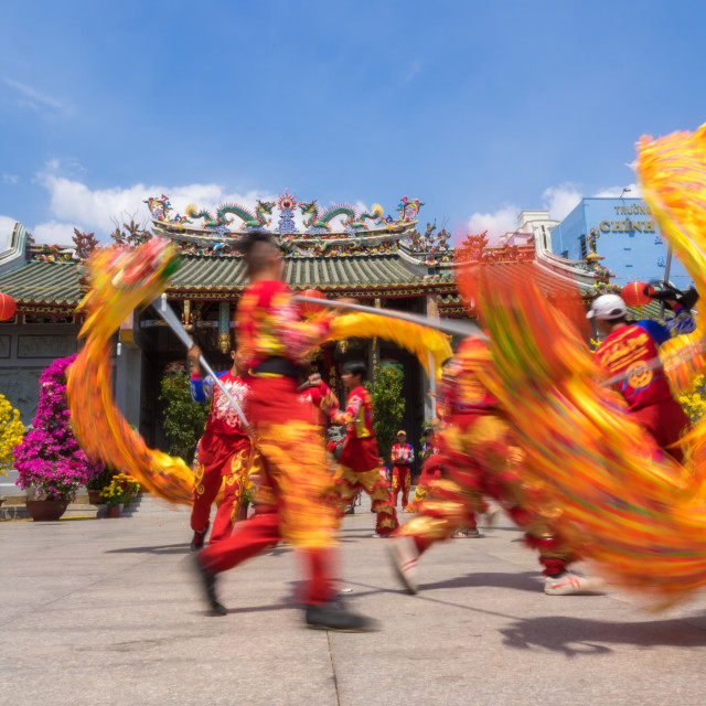 """Dragon dancing to celebrate Lunar New Year"" stock image"
