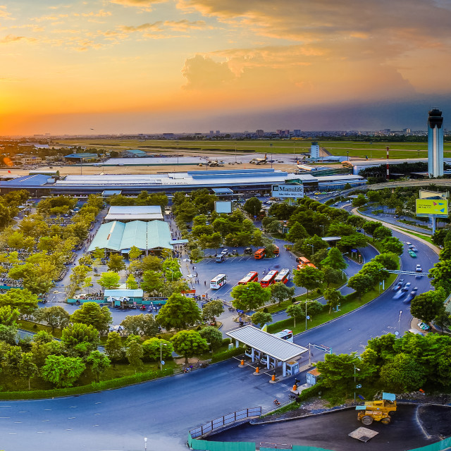 """Sunset Tan Son Nhat airport"" stock image"