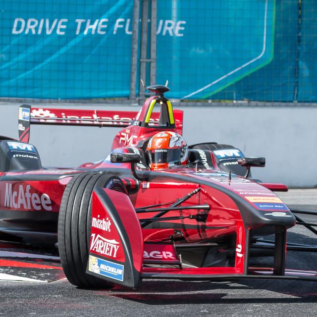 """Loic Duval, Formula E - Putrajaya ePrix, Malaysia, 2015"" stock image"