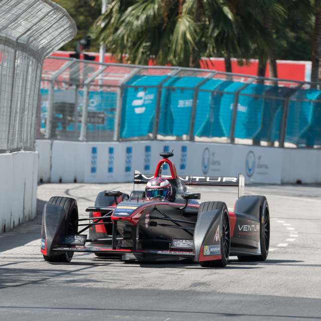 """Stephane Sarrazin, Formula E - Putrajaya ePrix, Malaysia, 2015"" stock image"