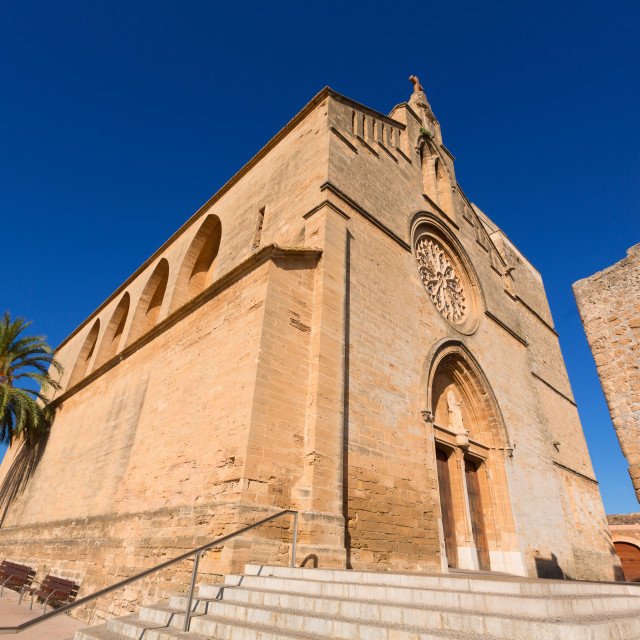 """Alcudia Old Town Sant Jaume church in Majorca"" stock image"