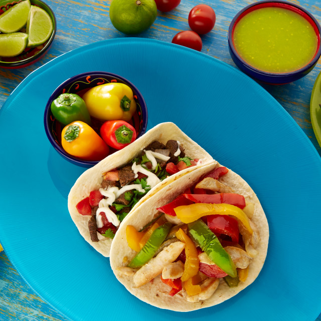 """Mexican tacos chicken fajita and beef res taco"" stock image"