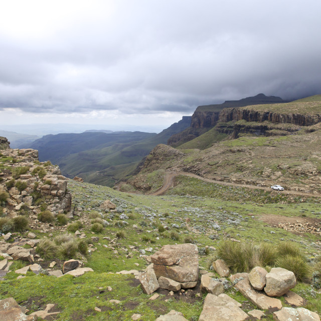 """Sani Pass, Drakensberg"" stock image"