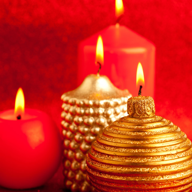 """christmas candles group on red glitter"" stock image"