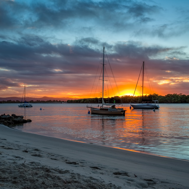 """Yachts at Sunset Gold Coast"" stock image"