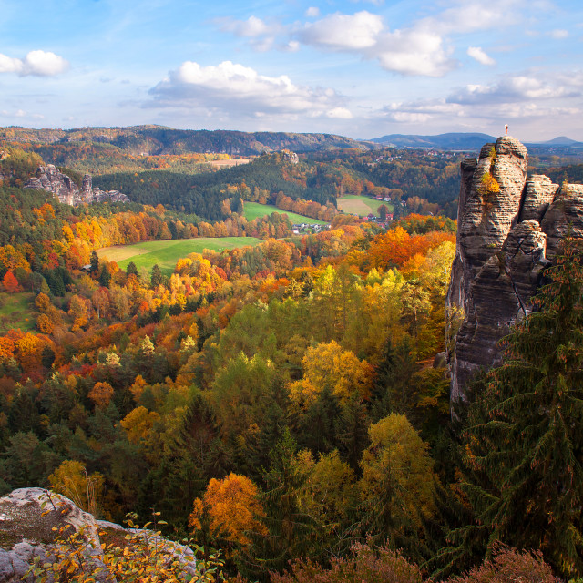 """Overview of Saxon Switzerland"" stock image"