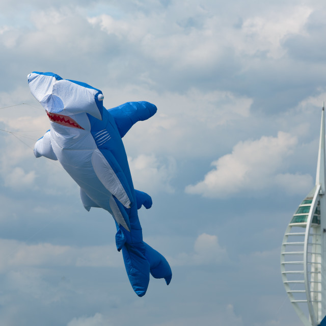 """Portsmouth International Kite Festival 2015 - blue hammerhead shark kite"" stock image"