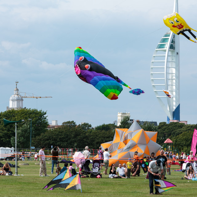 """Portsmouth International Kite Festival 2015 - stingray and spongebob square pants kites"" stock image"