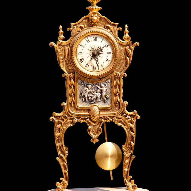 """ancient vintage brass pendulum clock"" stock image"