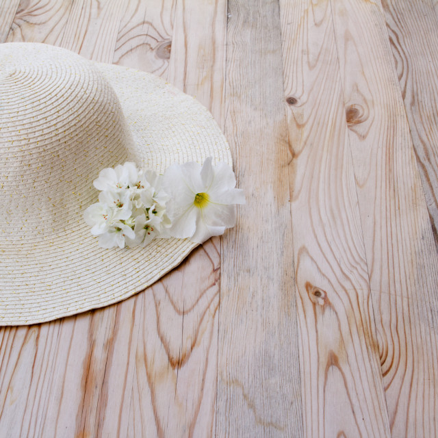 """beach hat with white flower"" stock image"