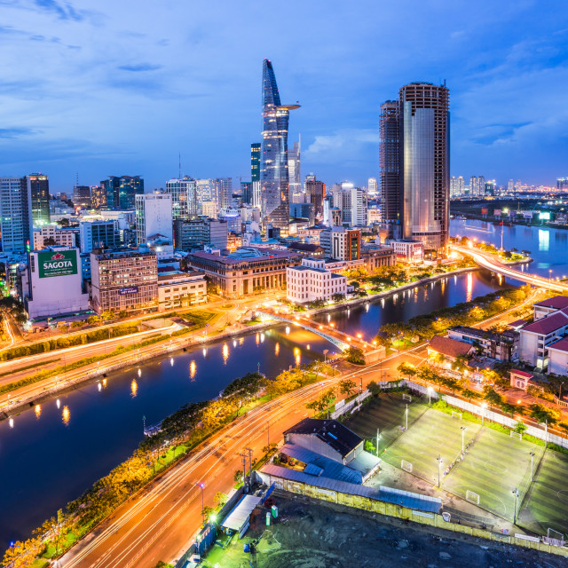"""Cityscape of Saigon at downtown of Ho Chi Minh city, Vietnam in sunset"" stock image"