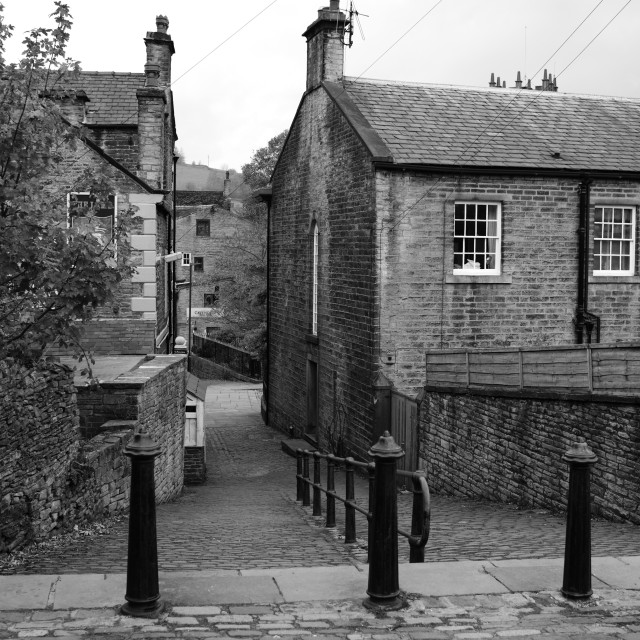 """Village Steps in Hayfield"" stock image"